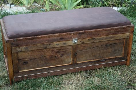 storage bench chest your customized reclaimed barn wood upholstered storage chest
