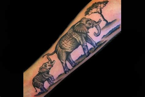 mom tattoos baby and baby elephant by tattoonow