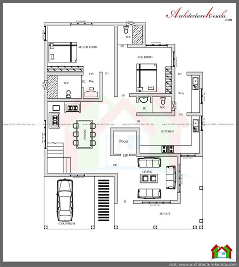 kerala home design one floor plan 4 bed house plan with pooja room architecture kerala