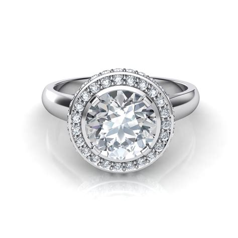 two row halo engagement ring