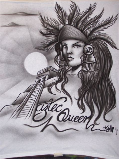 imagenes aztecas graffiti playera reyna azteca airbrush by okamiairbrush on deviantart