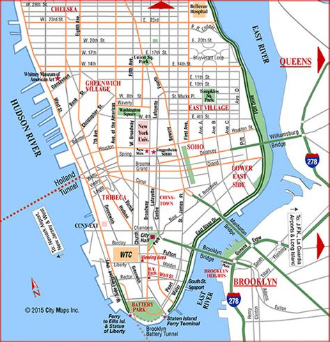 road map nyc map of downtown manhattan my