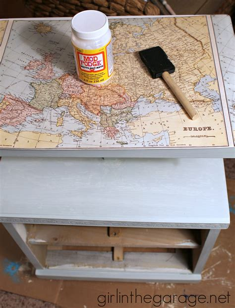 decoupage maps on furniture decoupaged map table themed furniture makeover day