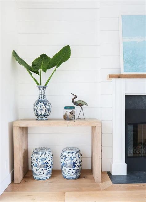 console table with fireplace fireplace shiplap walls design ideas