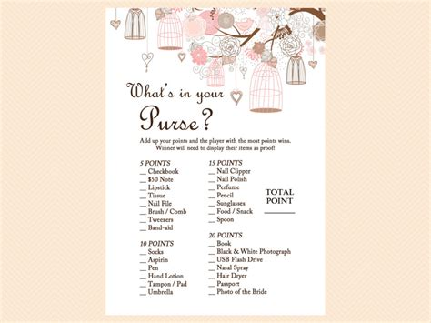 printable bridal shower games what s in your purse bridal shower game archives page 8 of 13 magical printable