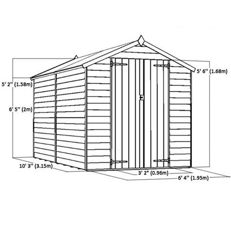 10 X 6 Shed Floor - 10 x 6 windowless overlap apex shed with doors