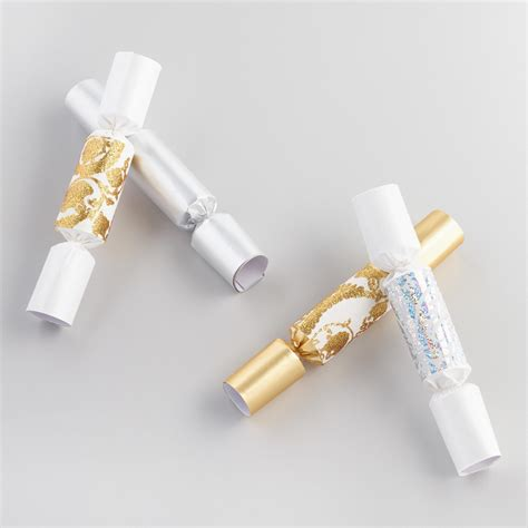 mini gold and silver christmas crackers set of 2 world