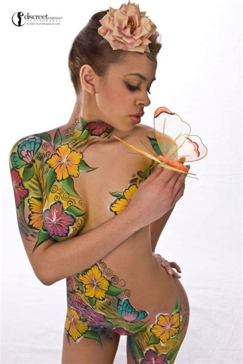 tattoo body paint full flower tattoo on female body the concept design of
