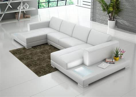 immaculate white leather chaise sectional sofa with