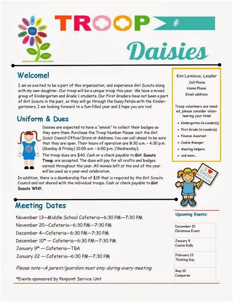 parent newsletter templates 17 best images about troop on activities