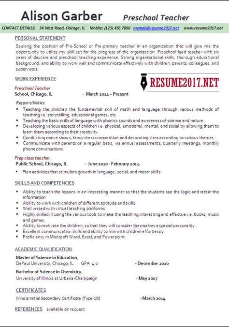 Resume Templates For Daycare Teachers Preschool Resume Sles 2017