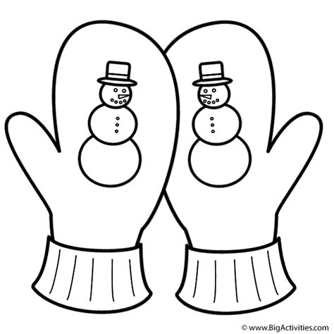 coloring pages of mittens and hats crossed mittens with snowman coloring page clothing