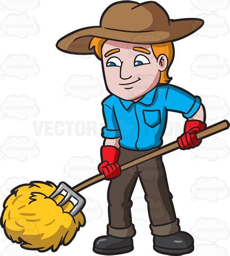 farmer clipart a farmer rolling the hays clipart by vector