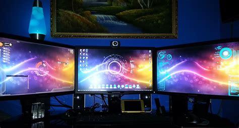 computer themes setup 3d triple monitor alienware computer gaming set youtube