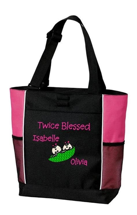 twins tote bag personalized boy girl twins peas   pod