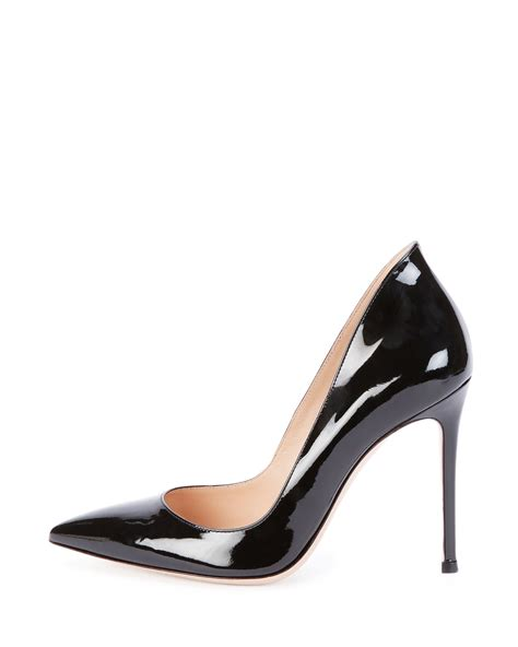 black patent leather pumps gianvito rossi patent leather point toe pump in black lyst