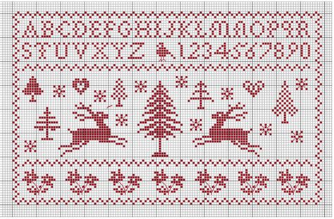 lettere minuscole punto croce alfabeto di natale rosso lettere minuscole e numeri