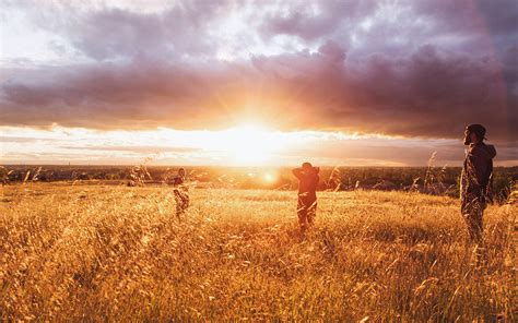 mt dawn sunset people field grass nature yellow papersco