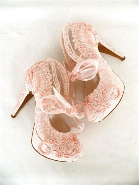 Blush Pink Bridal Shoes by Blush Embroidered Lace Bridal Shoes With Ribbons 5 Quot Heels