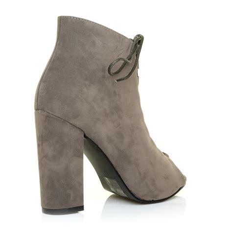 Toe Block Heel Court In Khaki by Black Khaki Suede Lace Up Block Heel Peep
