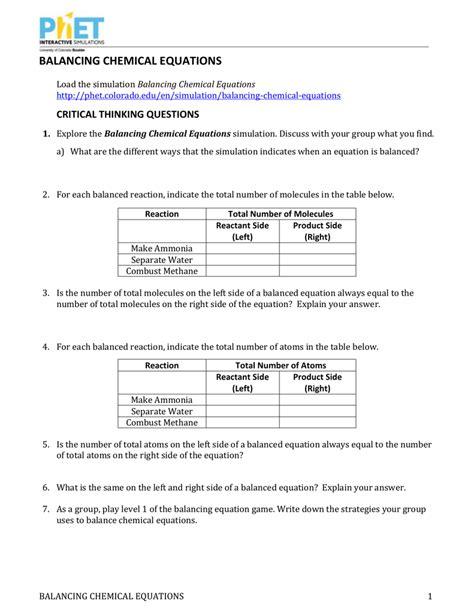 Table 2 Balancing Equations Worksheet Answers