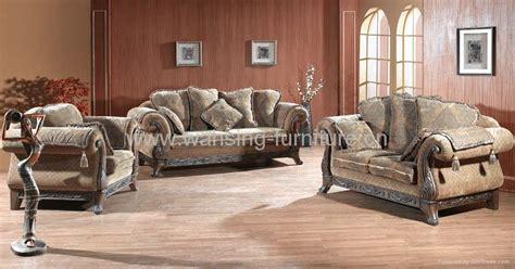Leather And Fabric Living Room Furniture by Antique Royal Solid Wood Furniture Leather Fabric Sofa Set