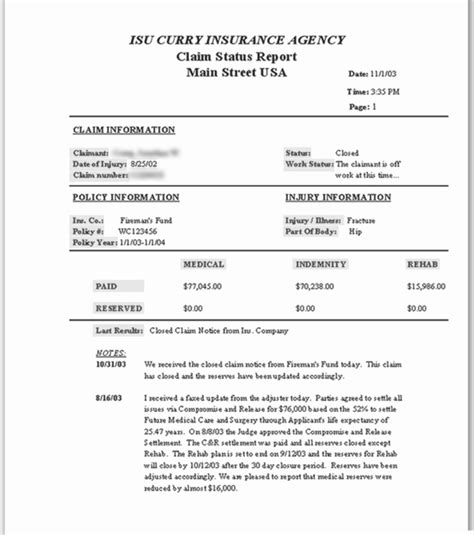 Claims Status Report ? ISU Curry Insurance