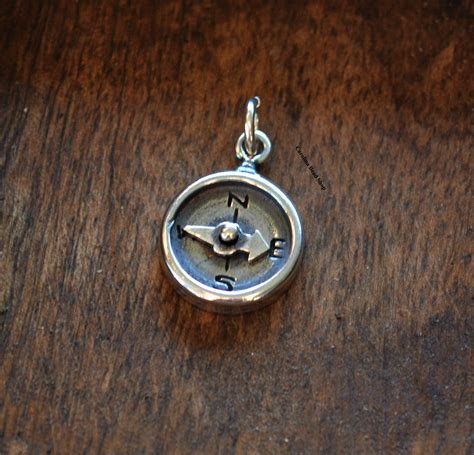 oxidized sterling silver compass charm navy by