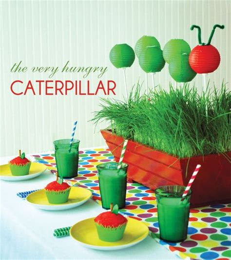 tables setting for a hungry caterpillar centerpiece