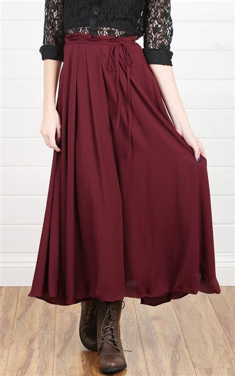 maxi skirt in maroon with combat boots and a black lace