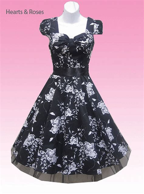Black And White Swing Dress black and white floral retro swing dress