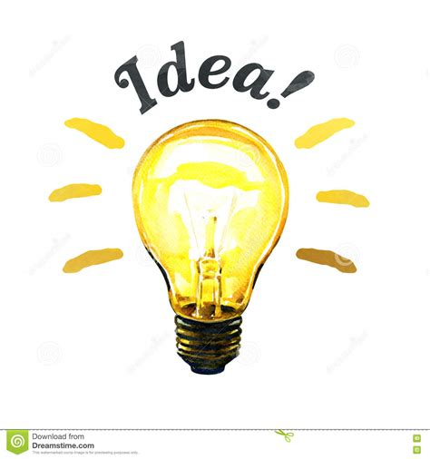 concept of glowing yellow light bulb idea watercolor painting stock illustration image 71280077
