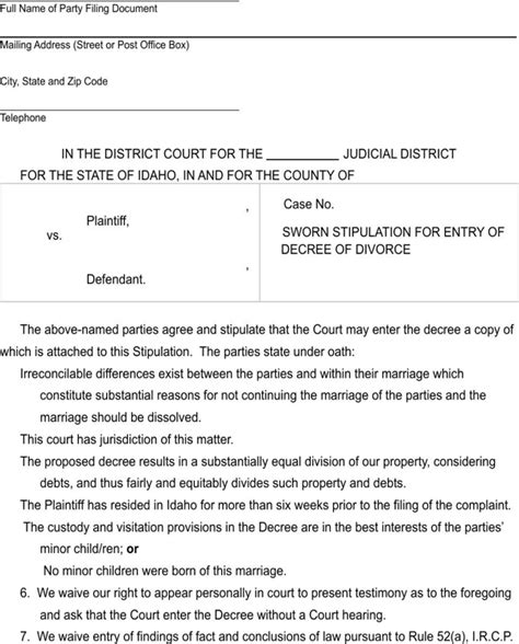 Divorce Letter Format India Free Idaho Sworn Stipulation For Entry Of Divorce Decree Form For Pdf