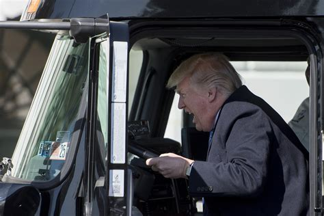 when is the truck donald pretended to drive a truck at the white house