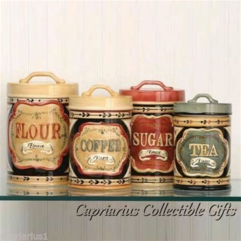 coffee themed kitchen canisters elegant country store canister set of 4 flour sugar coffee