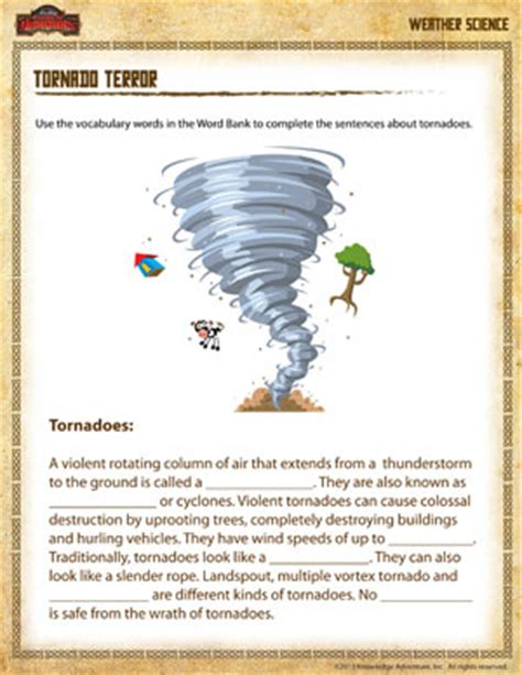 Free Fourth Grade Science Worksheets by Tornado Terror Free Earth Science Worksheet For 4th