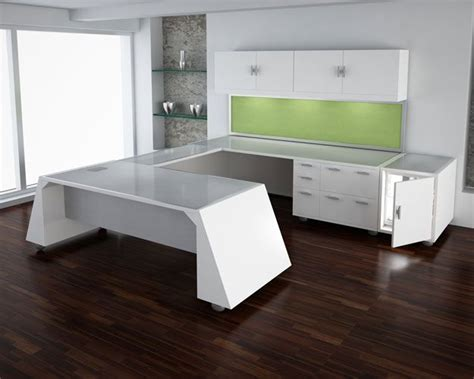 White U Shaped Desk Modern U Shape Desk With White Lacquer Finish And Brushed Metallic Top Unique U Shaped