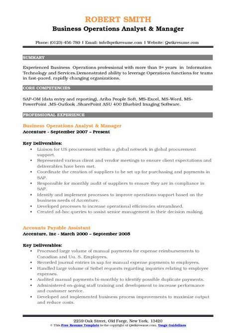 Operations Analyst Resume Exle by Business Operations Analyst Resume Sles Qwikresume