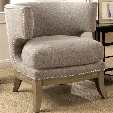 shop luxenberg mid century modern barrel  design grey accent chair  nailhead trim