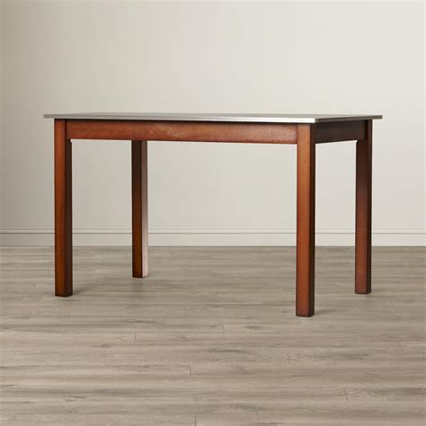 Dining Table Stainless Steel Top Carolina Cottage Chestnut Brown Stainless Steel Top Dining Table Cf3048nc The Home Depot