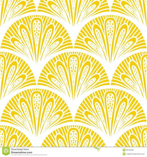 Sixties Home Decor by Art Deco Vector Geometric Pattern In Bright Yellow Stock