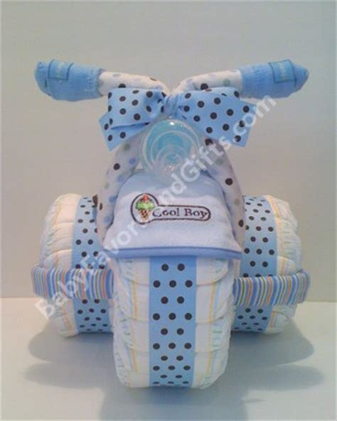Tricycle Diaper Cake Blue For Boy   Unique diaper cakes