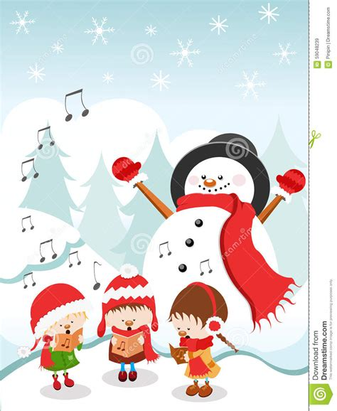 kids singing christmas song stock illustration image