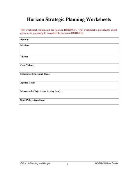Strategic Planning Worksheet by Worksheet Strategic Planning Worksheet Caytailoc Free