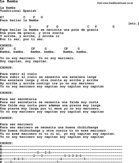 In L Lyrics by Traditional Song La Bamba With Chords Tabs And Lyrics