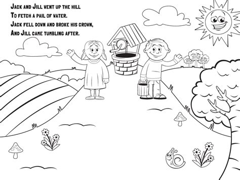 preschool coloring pages jack and jill language nursery school hey diddle diddle
