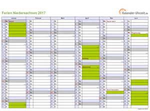 Kalender 2018 Ferien Niedersachsen Ferien Niedersachsen 2017 Ferienkalender Zum Ausdrucken