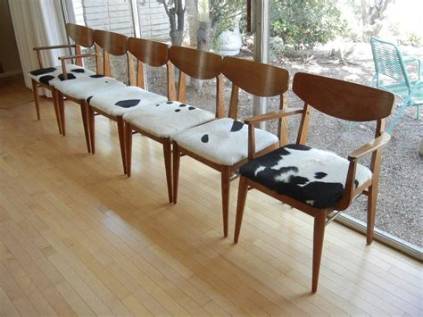 Modern Cowhide Furniture - set of six 6 mid century modern dining chairs cowhide