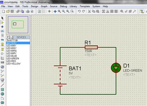 resistor circuit simulator how to work with led and bar graph display in proteus