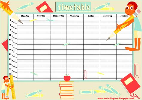 Free Printable School Timetable And School Scrabpooking Embellishment Ausdruckbarer Timetable Template